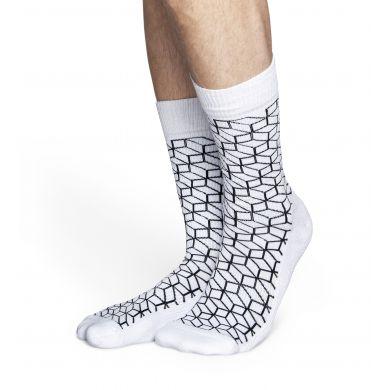 Bílé ponožky Happy Socks s černým vzorem Filled Optic // kolekce Athletic