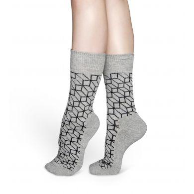 Šedé ponožky Happy Socks s černým vzorem Filled Optic // kolekce Athletic
