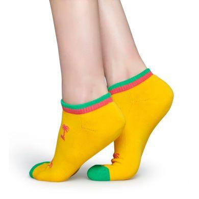 Nízke žlté ponožky Happy Socks s ružovými palmami, vzor Palm Beach // kolekcia Athletic