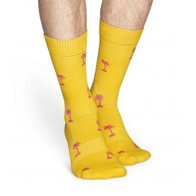 Žluté ponožky Happy Socks s růžovými palmami, vzor Palm Beach // kolekce Athletic
