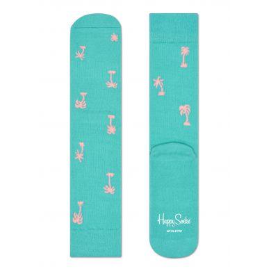 Tyrkysové ponožky Happy Socks s růžovými palmami, vzor Palm Beach // kolekce Athletic