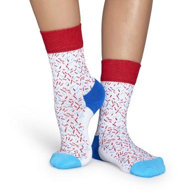 Bílé ponožky Happy Socks s barevnými čárkami, vzor Sprinkles // kolekce Athletic