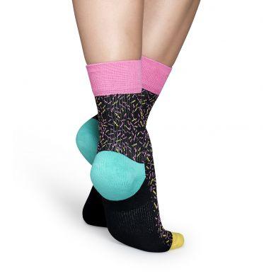 Černé ponožky Happy Socks s barevnými čárkami, vzor Sprinkles // kolekce Athletic
