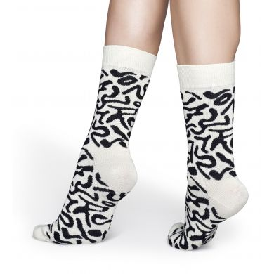 Černobílé ponožky Happy Socks, vzor Artsy