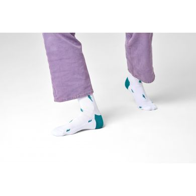 Biele ponožky Happy Socks s bleskami, vzor Small Flash // KOLEKCIA ATHLETIC