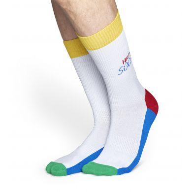 Barevné ponožky Happy Socks Tennis s bílým základem // kolekce Athletic