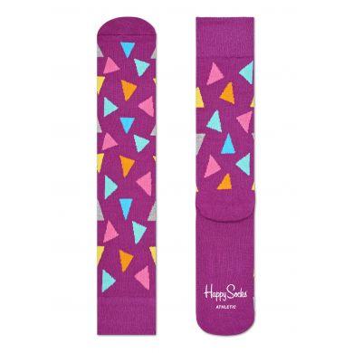 Fialové ponožky Happy Socks s barevnými trojúhelníky, vzor Triangle // kolekce Athletic