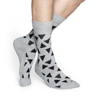 Šedé ponožky Happy Socks s černými trojúhelníky, vzor Triangle // kolekce Athletic