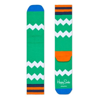 Zelené ponožky Happy Socks s bielymi zubatými pruhmi, vzor ZigZag Stripes // kolekcia Athletic