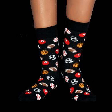 Černé ponožky Happy Socks s míči, vzor Ball