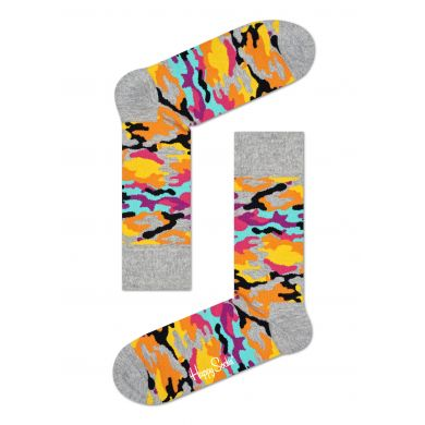 Šedé ponožky Happy Socks s barevným maskáčovým vzorem Bark