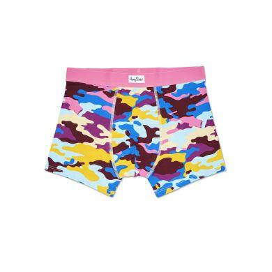 Růžové boxerky Happy Socks s barevným maskáčovým vzorem Bark