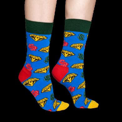 Modré ponožky Happy Socks s diamanty a dolary, vzor D&D // kolekce Billionare Boys Club