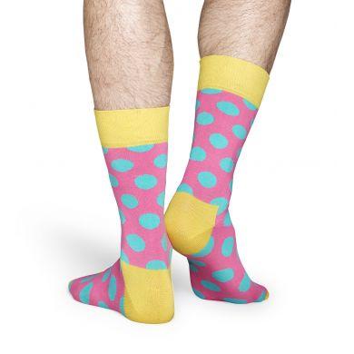 Růžové ponožky Happy Socks s tyrkysovými puntíky, vzor Big Dot