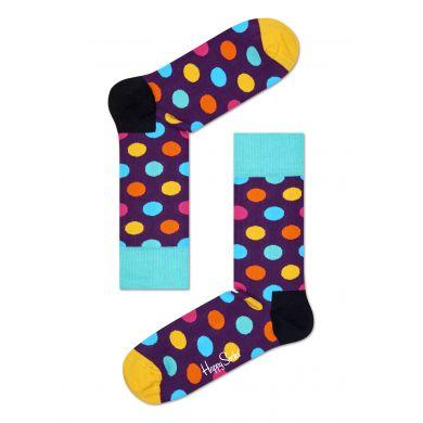 Fialové ponožky Happy Socks s barevnými puntíky, vzor Big Dot