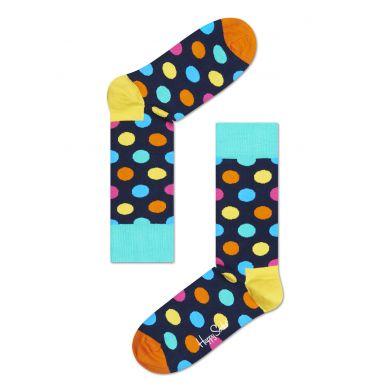 Modré ponožky Happy Socks s barevnými puntíky, vzor Big Dot