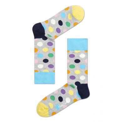 Šedivé ponožky Happy Socks s barevnými puntíky, vzor Big Dot