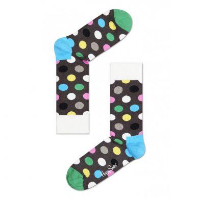 Hnědé ponožky Happy Socks s barevnými puntíky, vzor Big Dot