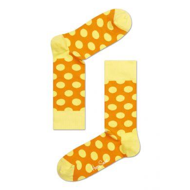 Oranžové ponožky Happy Socks s žlutými puntíky, vzor Big Dot
