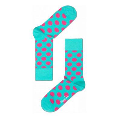 Tyrkysové ponožky Happy Socks s růžovými puntíky, vzor Big Dot