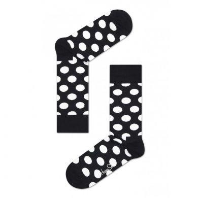 Černé ponožky Happy Socks s bílými puntíky, vzor Big Dot