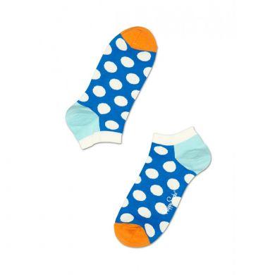 Nízke modré ponožky Happy Socks s bílými puntíky, vzor Big Dot