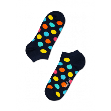 Nízke modré ponožky Happy Socks s barevnými puntíky, vzor Big Dot