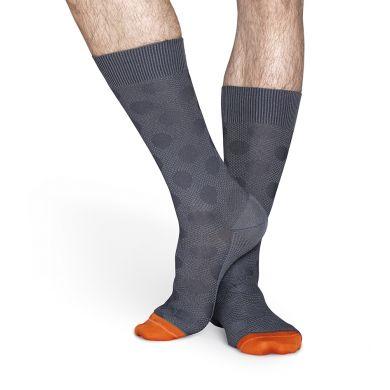 Šedé ponožky Happy Socks s puntíky, vzor Structure Big Dot // kolekce Dressed