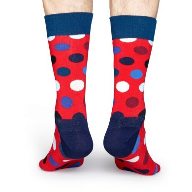 Červené ponožky Happy Socks s farebnými bodkami, vzor Big Dot