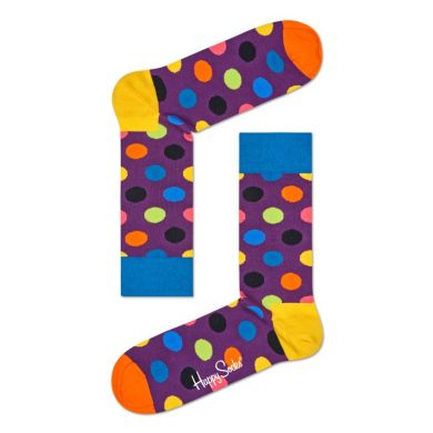 Fialové ponožky Happy Socks s farebnými bodkami, vzor Big Dot