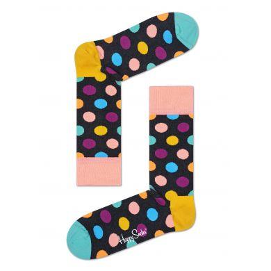 Tmavě šedé ponožky Happy Socks s barevnými puntíky, vzor Big Dot