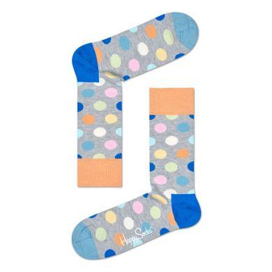 Sivé ponožky Happy Socks s farebnými bodkami, vzor Big Dot