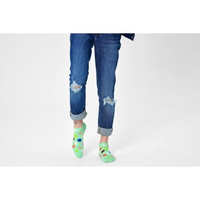 Zelené nízke ponožky Happy Socks s bodkami, vzor Big Dot