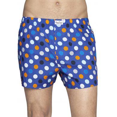 Modré trenýrky Happy Socks s barevnými puntíky, vzor Big Dot