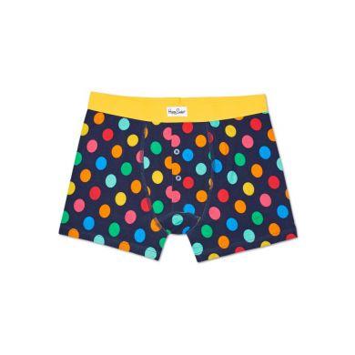 Modré delší boxerky s knoflíčky Happy Socks s barevnými puntíky, vzor Big Dot