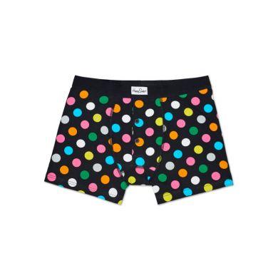 Černé delší boxerky s knoflíčky Happy Socks s barevnými puntíky, vzor Big Dot