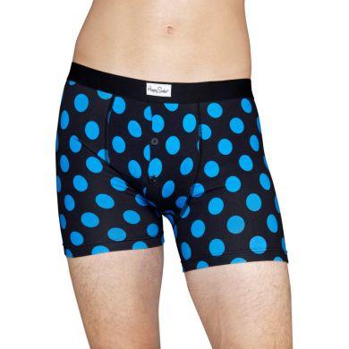 Modré delší boxerky s knoflíčky Happy Socks s tyrkysovými puntíky, vzor Big Dot