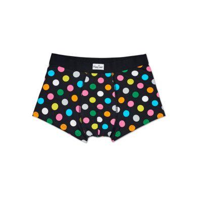 Čierne boxerky Happy Socks s farebnými bodkami, vzor Big Dot