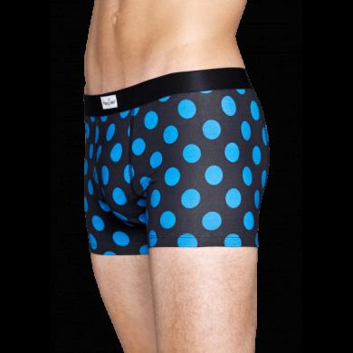 Modré boxerky Happy Socks s tyrkysovými puntíky, vzor Big Dot
