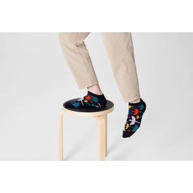 Čierne nízke ponožky Happy Socks s vtákmi, vzor Bird Watch