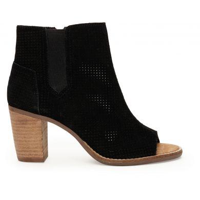 Černé dámské semišové boty na podpatku TOMS