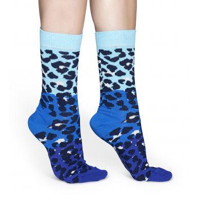 Modré ponožky Happy Socks, vzor Block Leopard