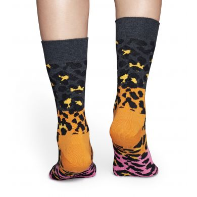 Šedo-růžové ponožky Happy Socks s barevným vzorem Block Leopard
