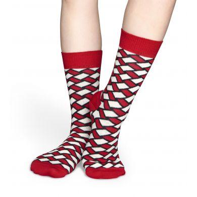 Červeno-bílé ponožky Happy Socks, vzor Basket