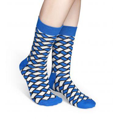 Modro-bílé ponožky Happy Socks, vzor Basket