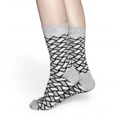 Šedo-bílé ponožky Happy Socks, vzor Basket