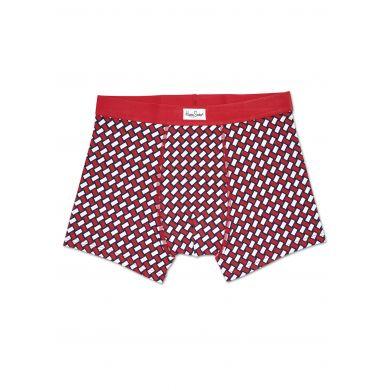 Červené boxerky Happy Socks se vzorem Basket