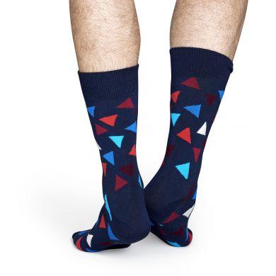 Modré ponožky Happy Socks s barevnými trojúhelníky, vzor Triangle