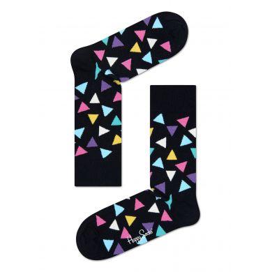 Černé ponožky Happy Socks s barevnými trojúhelníky, vzor Triangle