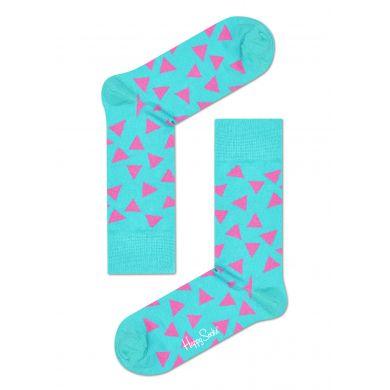 Tyrkysové ponožky Happy Socks s růžovými trojúhelníky, vzor Triangle